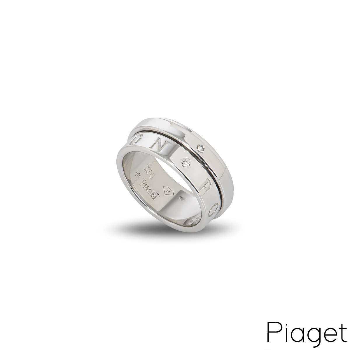 Piaget 18k White Gold Diamond Eccentric Possession Ring B&P G34PX253